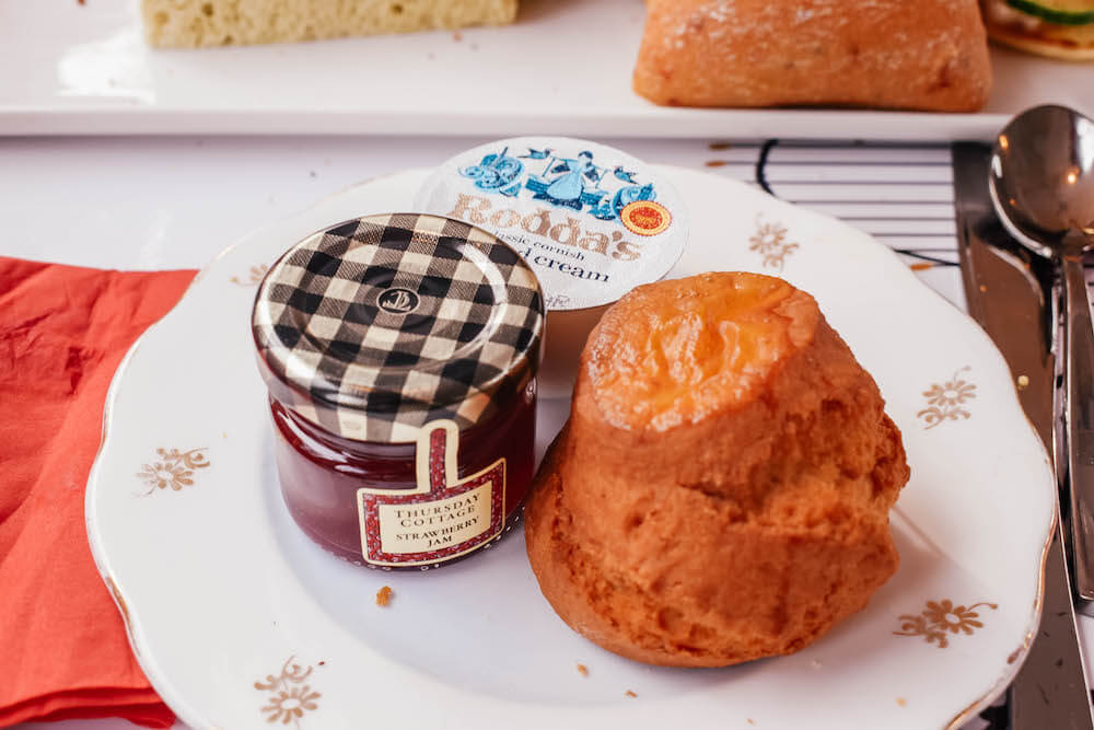 Scone served with jam and clotted cream on the B Bakery bus tour