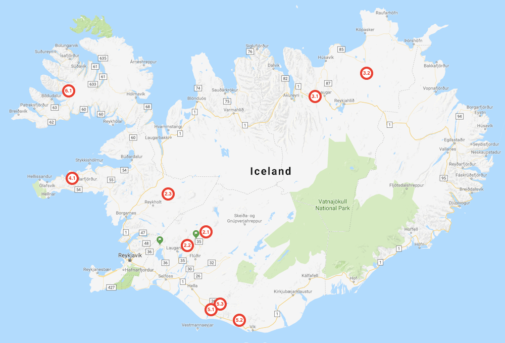 Map of the 10 best waterfalls in Iceland