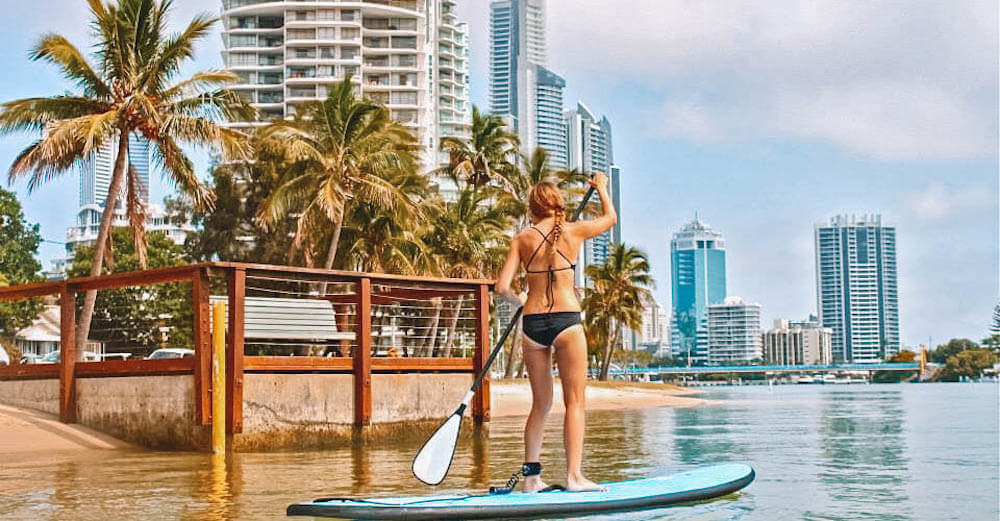 Stand up paddle boarding at Budds Beach in Surfers Paradise, photo by A Travellers Footsteps