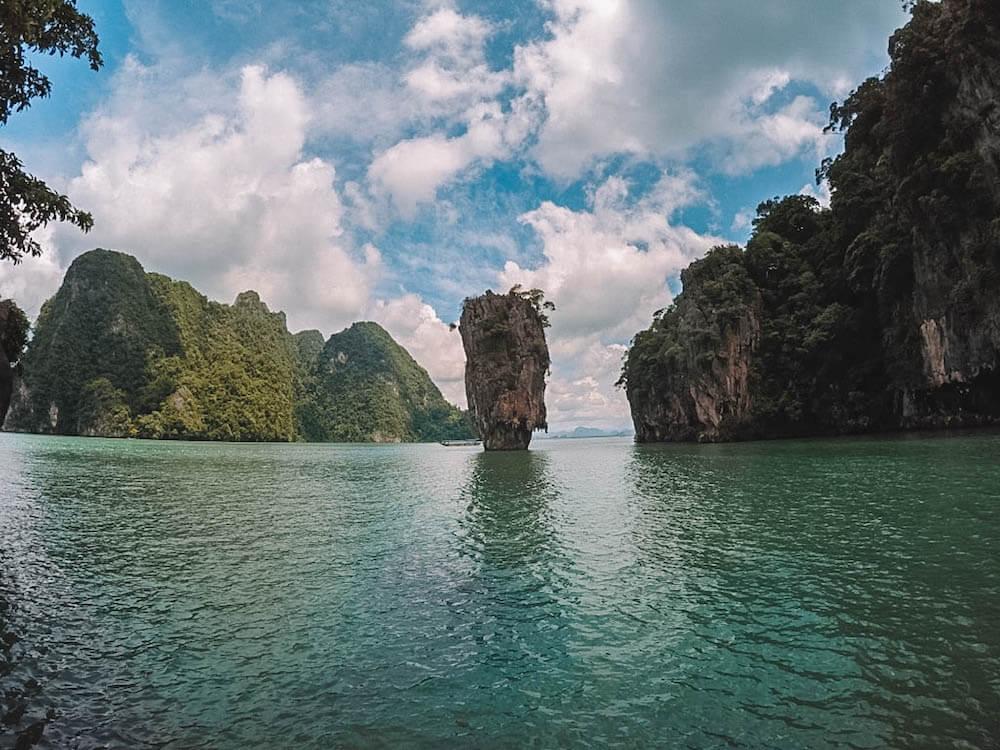 The iconic limestone formation of James Bond Island, Thailand