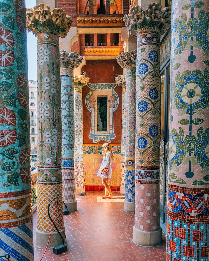 The colourful columns of the Palau de la Musica Catalana in Barcelona - photo by Marta of Where Life Is Great - one of the most Instagrammable places in Barcelona