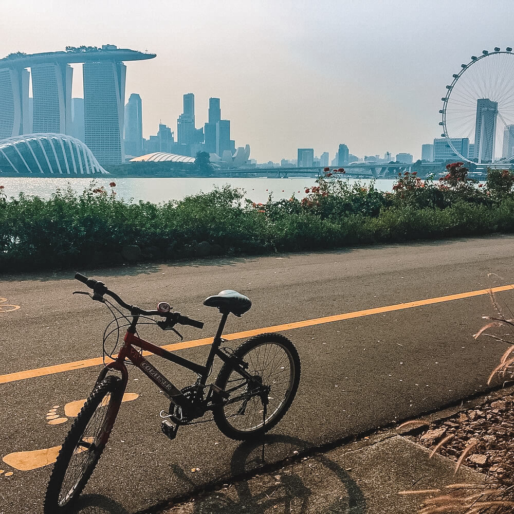 Cycling with the view of Marina Bay Sands, photo by The Munching Traveller