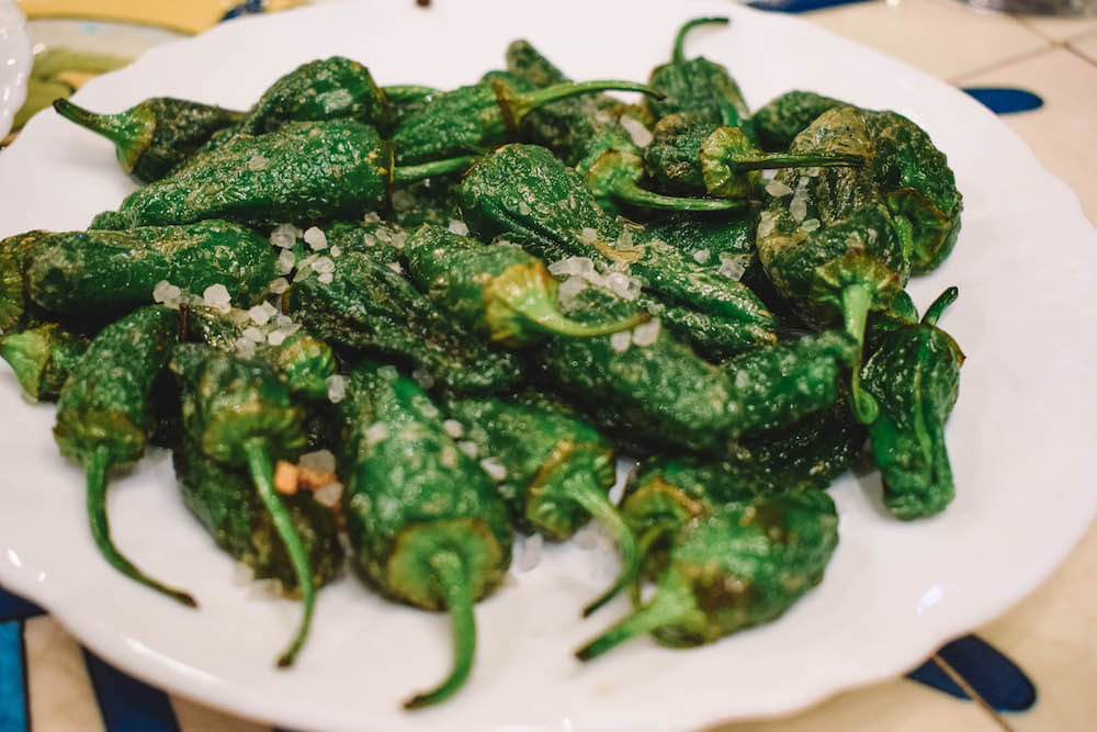 Pimientos at the first stop of our Barcelona tapas tour