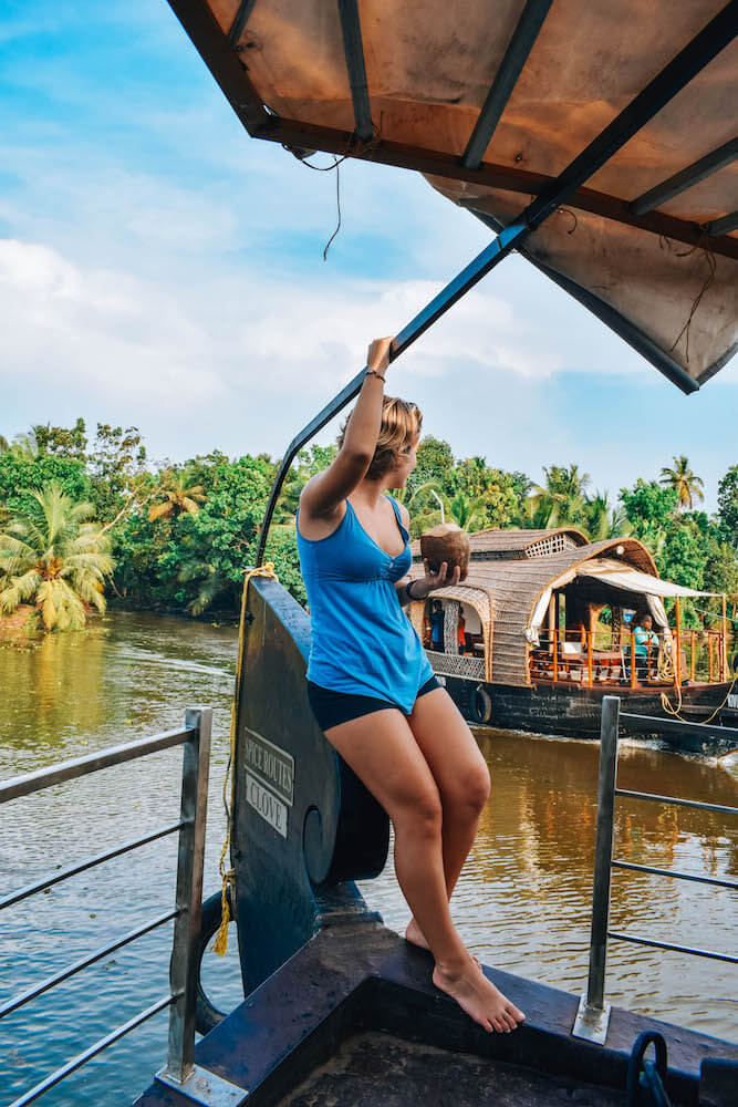 Enjoying the view during our backwaters cruise in Kerala, India