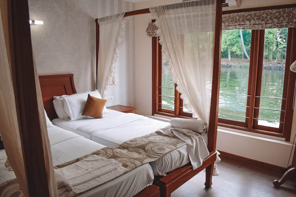 Our bedroom onboard our Spice Routes houseboat