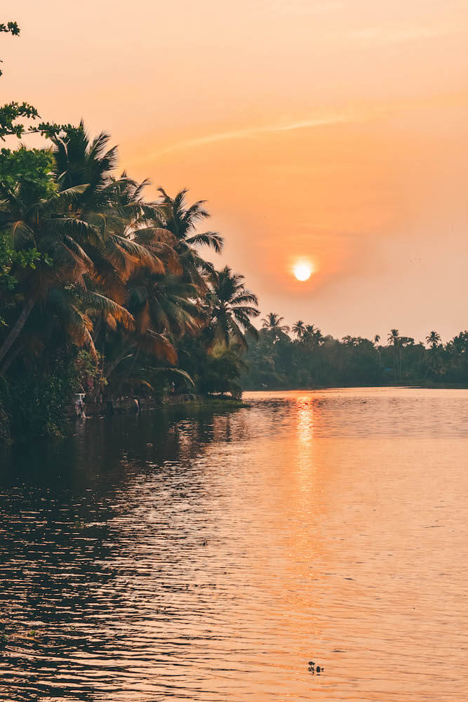 Sunset over the backwaters of Kerala, India