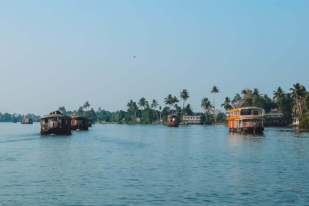 Morning views over the backwaters of Kerala, India