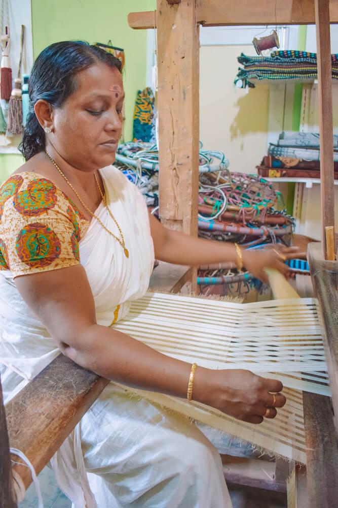 One of the local artisans of Sargaalaya village at work