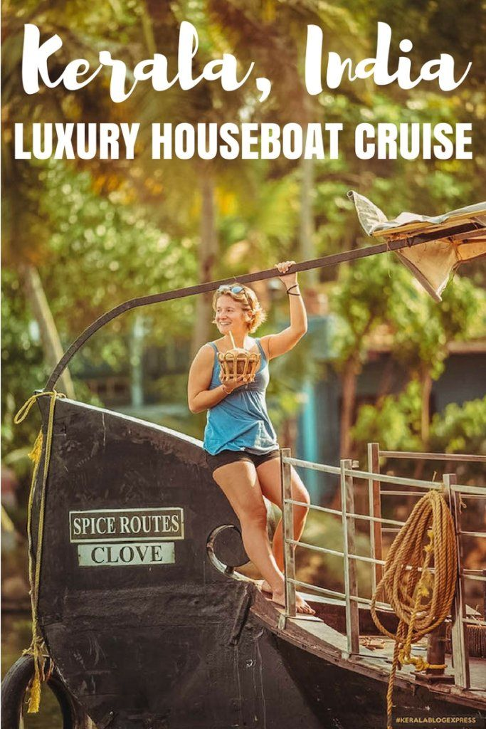 Planning a trip to Kerala, India? Make sure to add a luxury backwaters cruise to your itinerary! Cruising in a luxury houseboat surrounded by palm trees, where you can also spend the night is an incredible experience. Check out this Kerala backwaters cruise guide to find out everything you need to know about this experience! #india #kerala #cruise