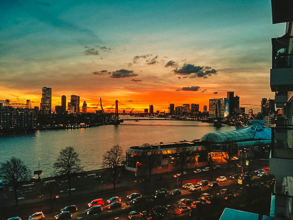 Rotterdam skyline at sunset, photo by Together in Transit
