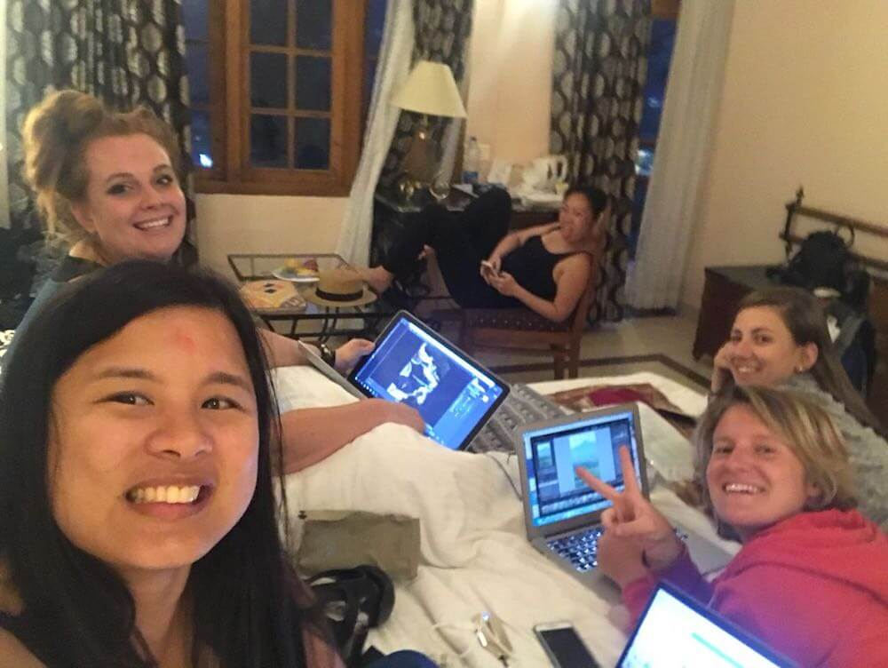 Photo editing party in one of our hotel rooms one evening with Karla (Karla Around The World), Tasha (Backpackers Wanderlust) and Maria (Travelling Buzz)