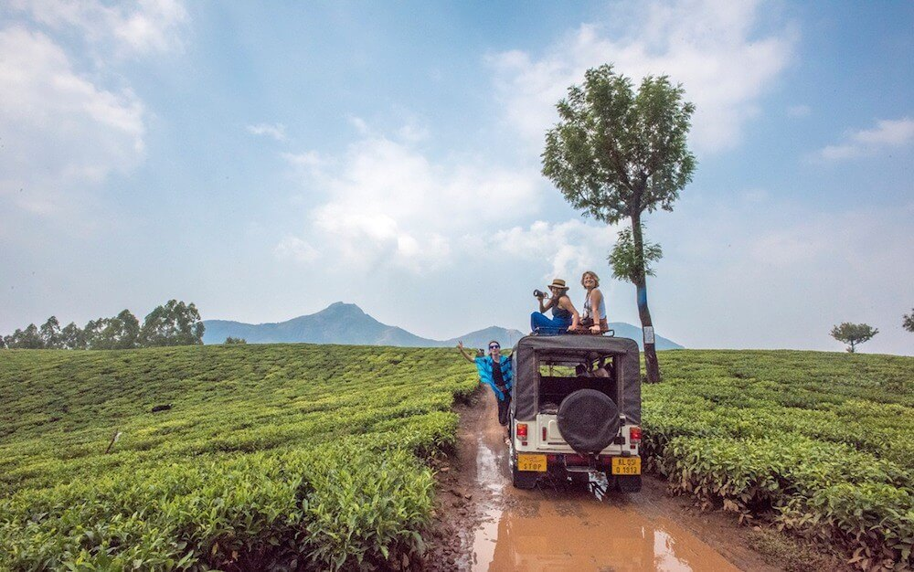 Driving a 4WD in the tea plantations of Munnar, India