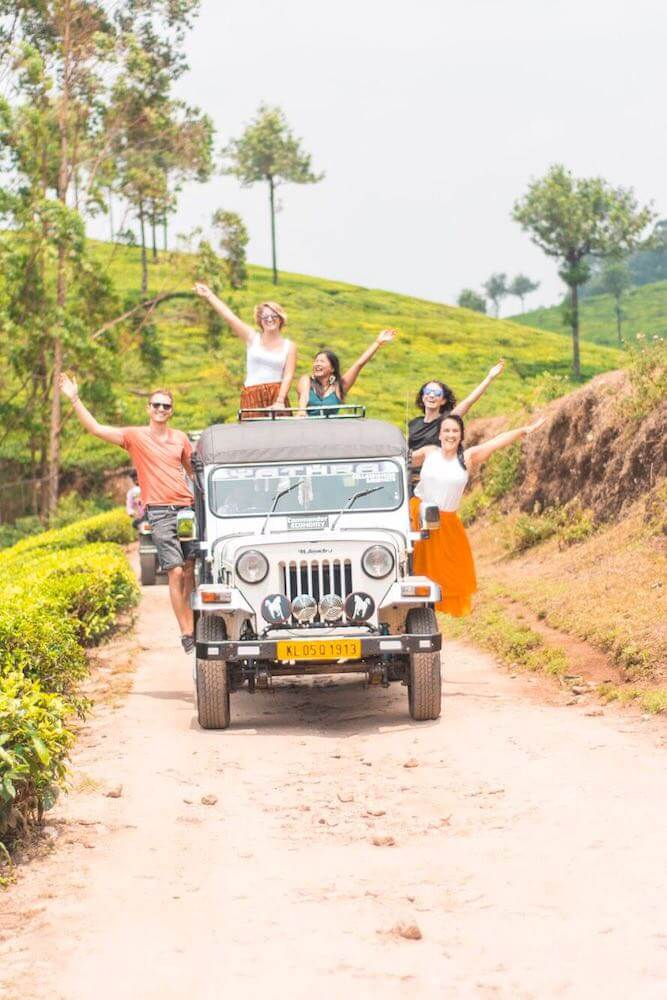 Exploring the tea plantations of Munnar, India, with our 4WD