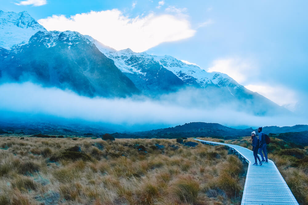 Hooker Valley Track in Mount Cook National Park, New Zealand