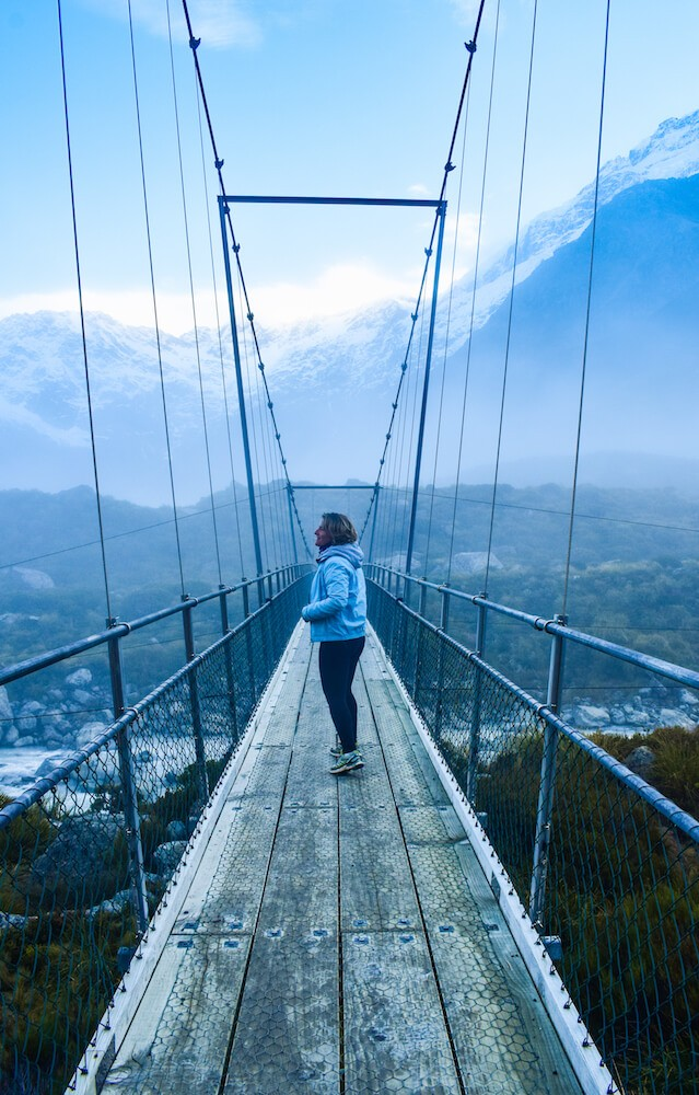 One of the suspension bridges of Hooker Valley Track in Mount Cook National Park, New Zealand