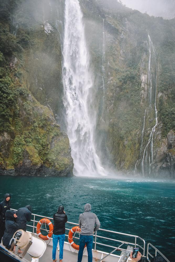 Stunning waterfalls in Milford Sound, New Zealand