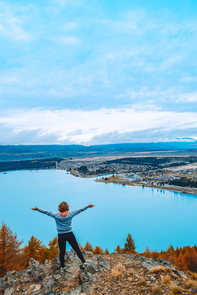 The view over Lake Tekapo from Mt John Summit, New Zealand