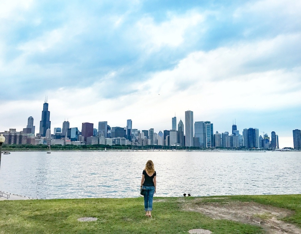 Monica and the Chicago skyline, photo by From Here To Sunday