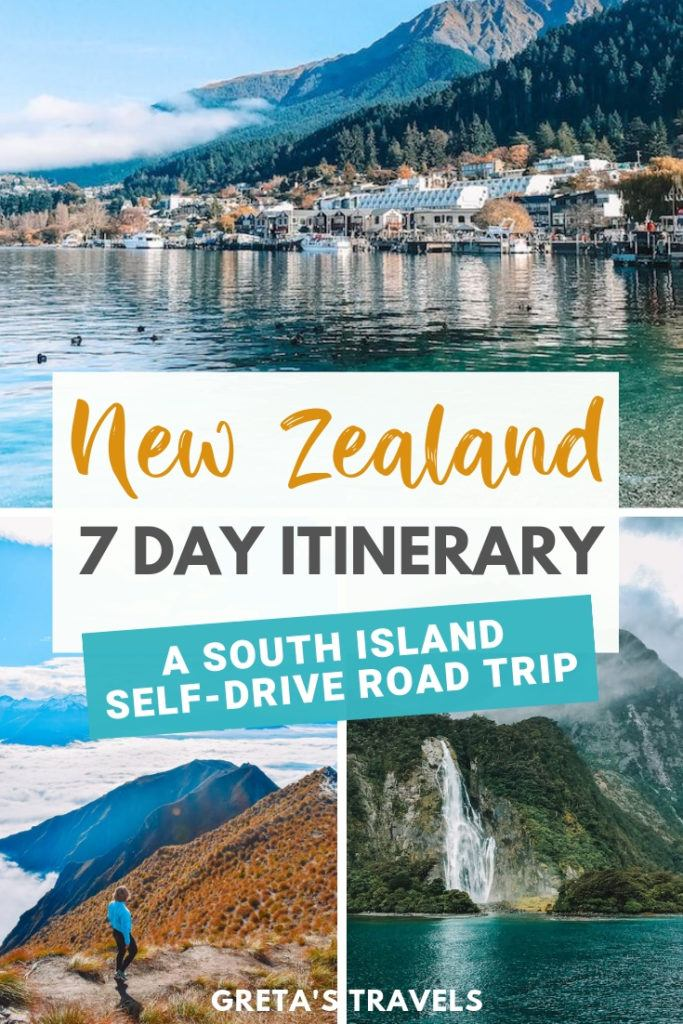"""Collage of Queenstown, Roy's Peak and Milford Sound with text overlay saying """"New Zealand 7-day itinerary: A New Zealand South Island road trip"""""""