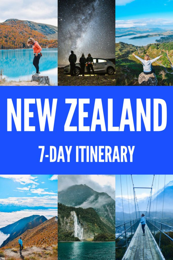 """Photo collage of famous spots in New Zealand like Lake Tekapo, Christchurch, Roys Peak, Milford Sound and Mount Cook with text overlay saying """"New Zealand South Island road trip: 7-day itinerary"""""""