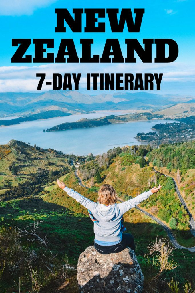 """Blonde girl with her arms open at the top of the Sugarloaf in Christchurch enjoying the view over lakes and green hills, with text overlay saying """"New Zealand 7-day itinerary"""""""