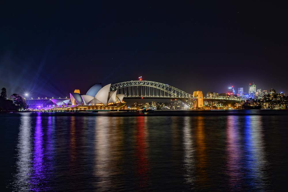 Sydney Opera House and Sydney Harbour Bridge at night from Mrs Macquarie's Chair - Photo by Jennifer Hirsiger on Scopio