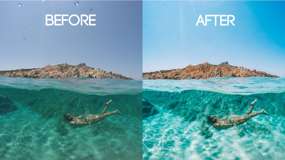 Over / under photo taken with a GoPro dome before and after editing