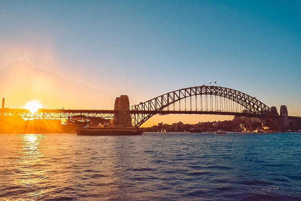 Sunset over Sydney Harbour Bridge seen from Opera Bar, Australia