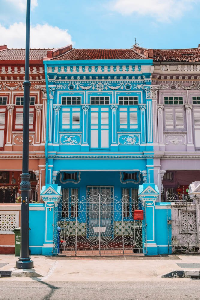 The colourful houses of Koon Seng Road, Singapore