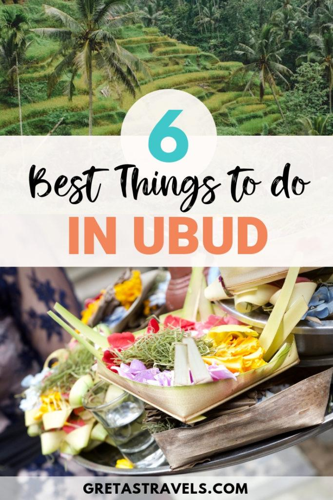 Ubud is a town in the centre of Bali, famous for its surrounding green rice fields and sacred Monkey Forest. Discover all the best things to and places to visit in Ubud with this complete guide! #ubud #bali #indonesia #monkeyforest #ricefields #asia