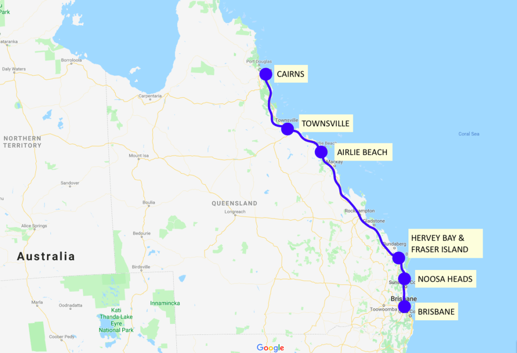 Our Cairns to Brisbane road trip itinerary