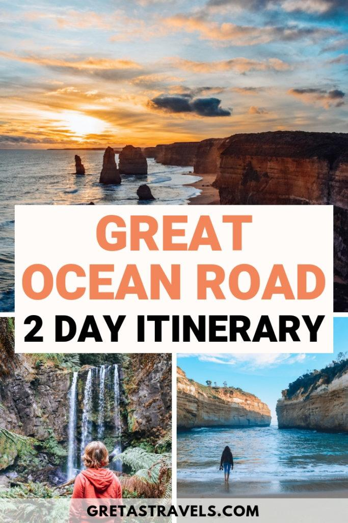 The Great Ocean Road in Australia is one of the most scenic and famous road trips in the world. If you're only visiting it over a weekend, find out all the best places to visit and must-see stops you can't miss with this 2-day self-drive itinerary. #australia #greatoceanroad #roadtrip #travel #travelblog #twelveapostles #waterfalls #nationalparks #oceania #traveladvice #traveltips #australiatraveltips