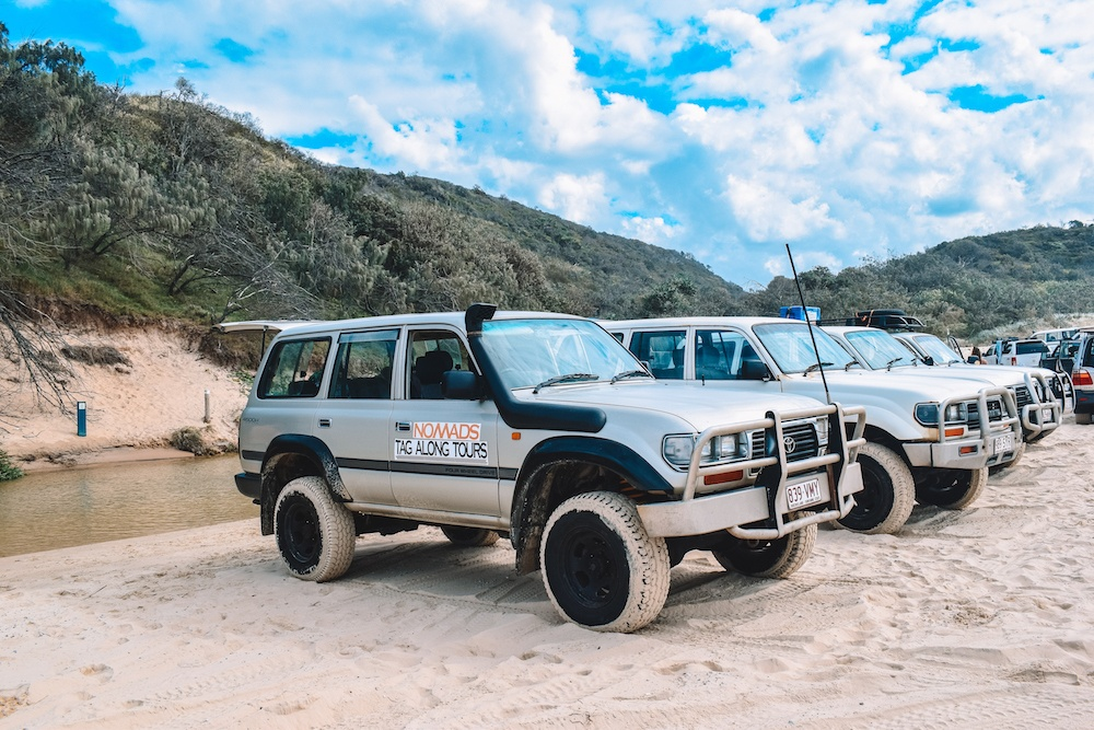 The 4WDs for our Nomads tag along tour of Fraser Island