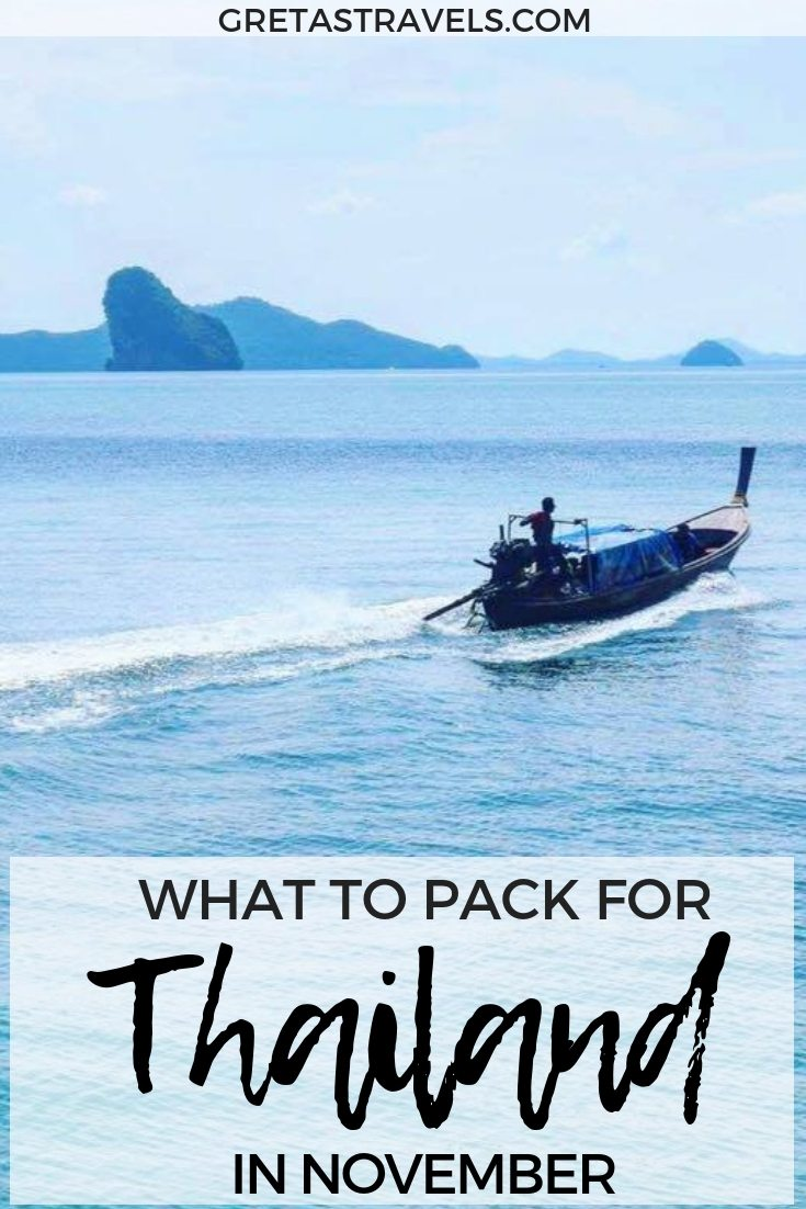 Planning a trip to Thailand during the rainy season but not sure what to pack? This Thailand packing list runs you through everything you need to pack for Thailand in November (or any other rainy season month!) #thailand #packinglist #thailandpackinglist #november #whattopack #traveladvice #packingadvice