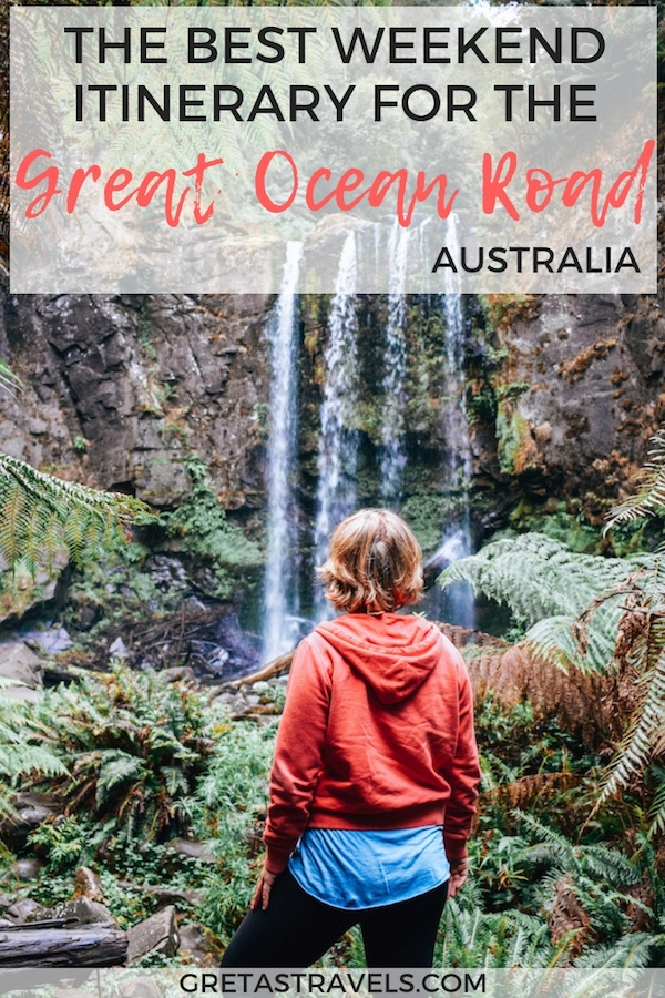 The Great Ocean Road in Australia is one of the most scenic and famous road trips in the world. If you're only visiting it over a weekend, find out all the best places to visit and must-see stops you can't miss with this 2-day self-drive itinerary. #australia #greatoceanroad #roadtrip #travel #travelblog #twelveapostles #waterfalls #nationalparks