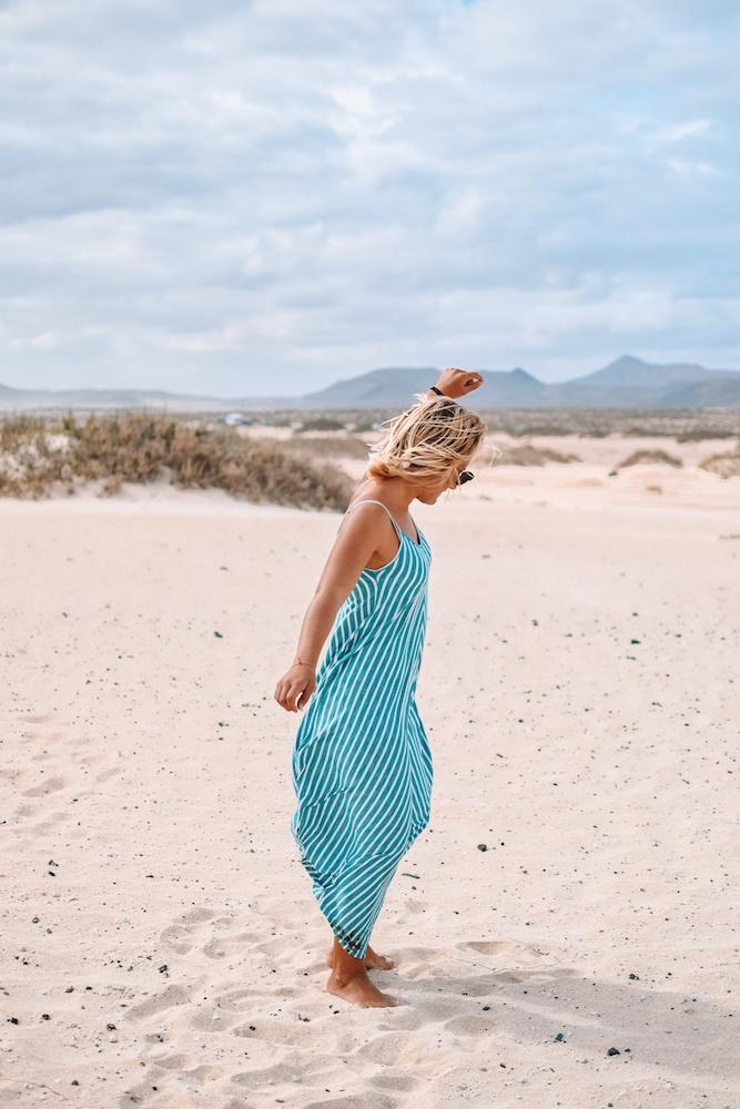 Dancing around the sand dunes of Corralejo Natural Park, Fuerteventura