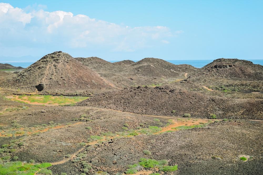 The rocky landscape of Isla Lobos, Spain