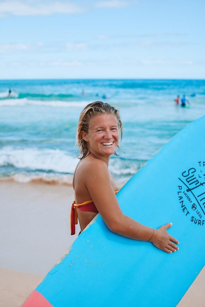 Learning to surf in Fuerteventura, Spain