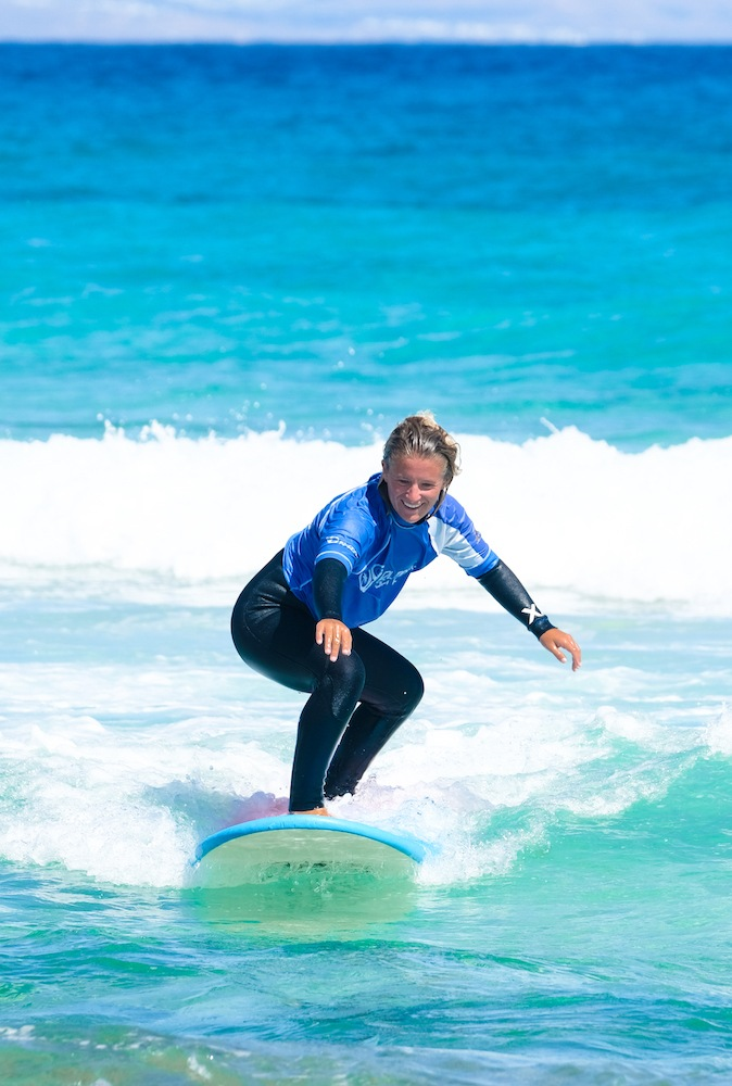 Surfing in Fuerteventura in the Canary Islands, Spain