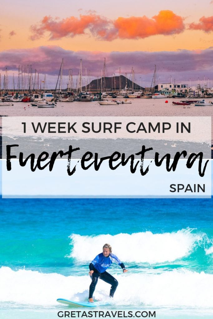 """Photo collage of sunset over the harbour of Corralejo in Fuertventura and a blonde girl surfing with text overlay saying """"1 week surf camp in Fuerteventura, Spain"""""""