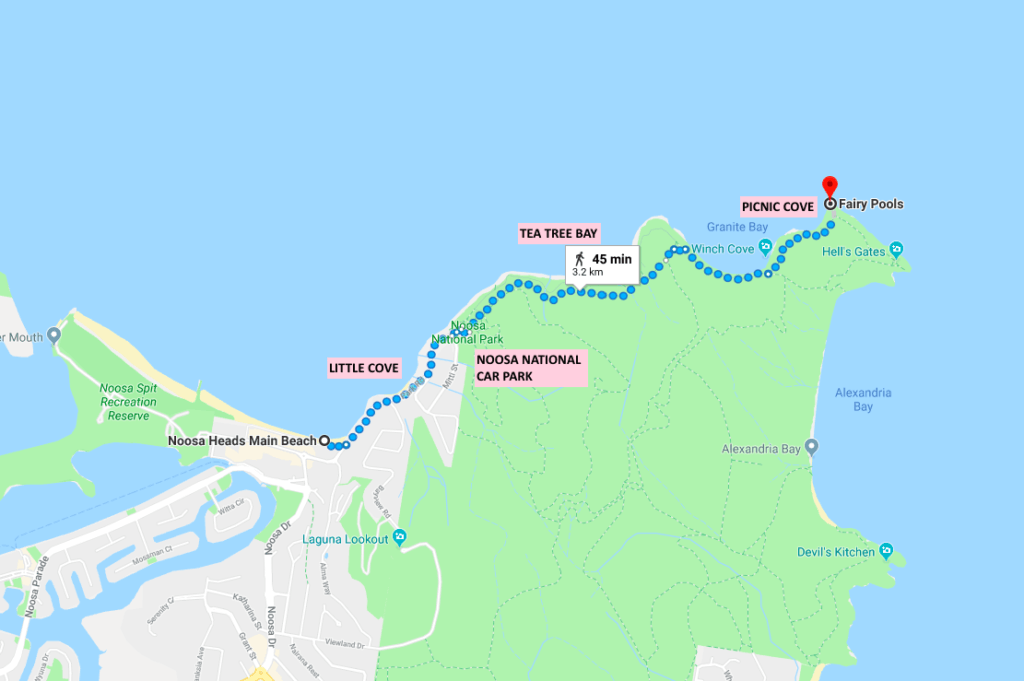Walking route from the Main Beach of Noosa Heads to the fairy pools