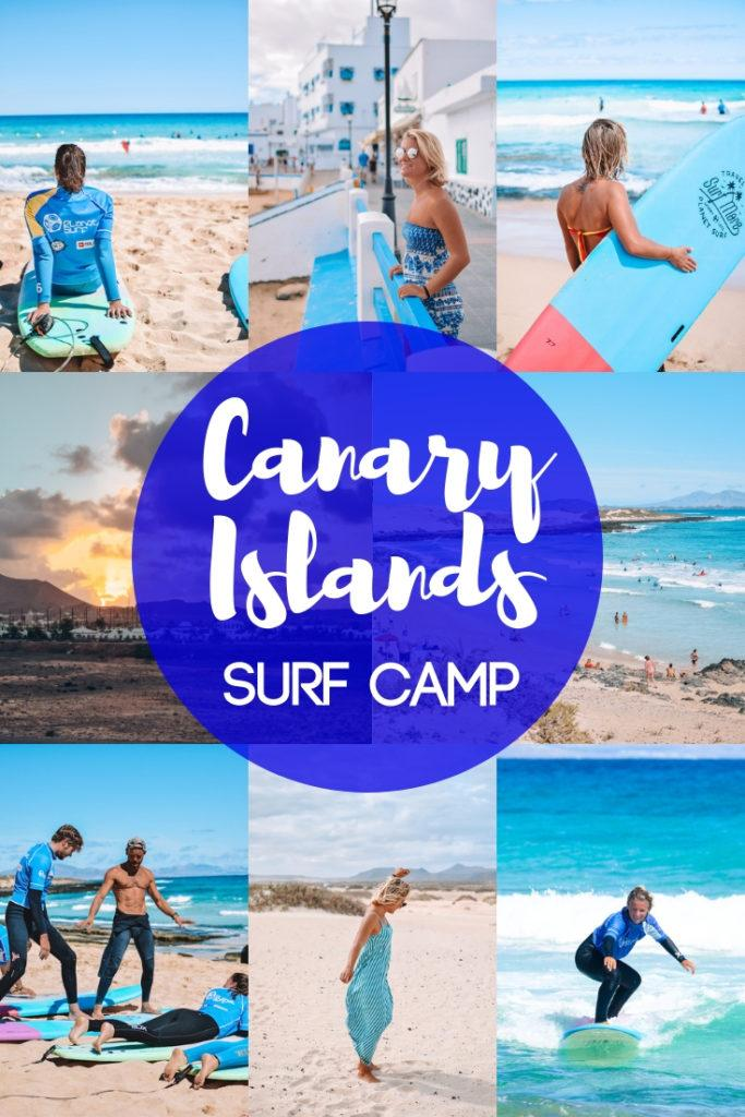 """Photo collage of people surfing and the harbour of Corralejo in Fuerteventura with text overlay saying """"Canary Islands surf camp"""""""