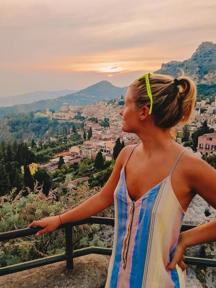 Enjoying the sunset from the Greek Amphitheatre of Taormina
