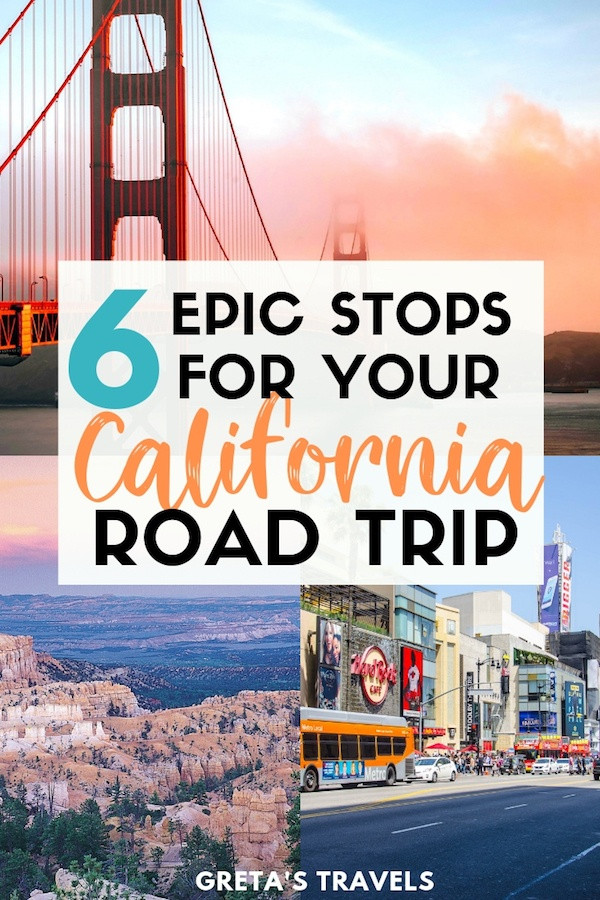 USA West Coast road trip collage with text overlay