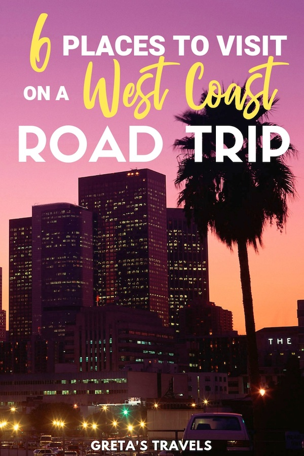 Californian sunset with text overlay for USA West Coast road trip