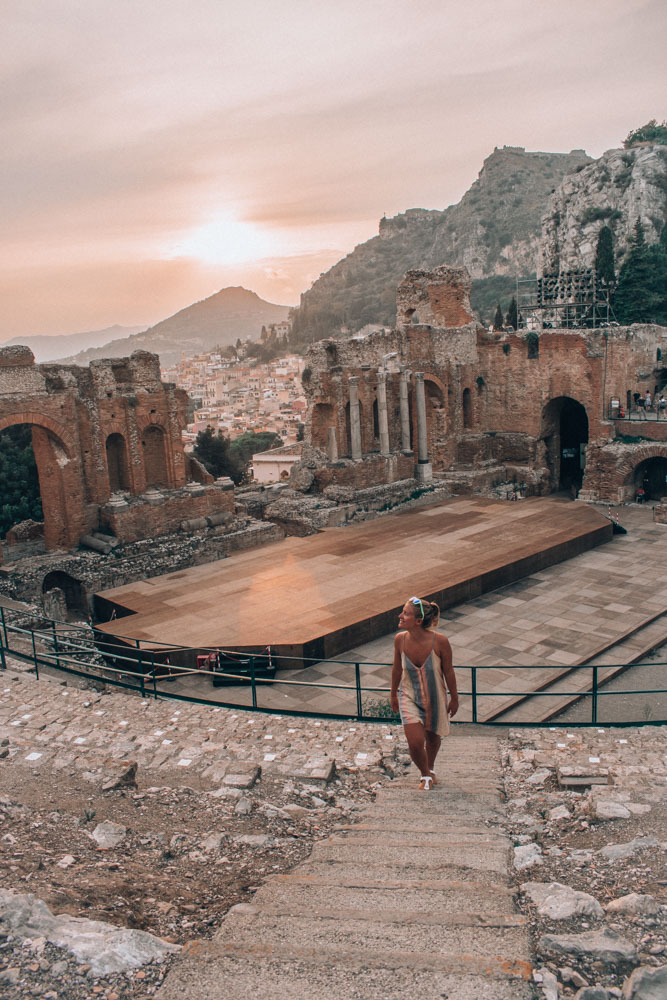 Exploring the Greek amphitheatre of Taormina at sunset - one of my favourite parts of my 7 days in Sicily