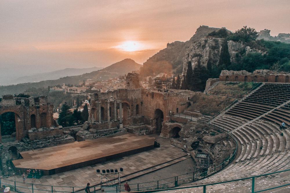 The Greek amphitheatre of Taormina at sunset