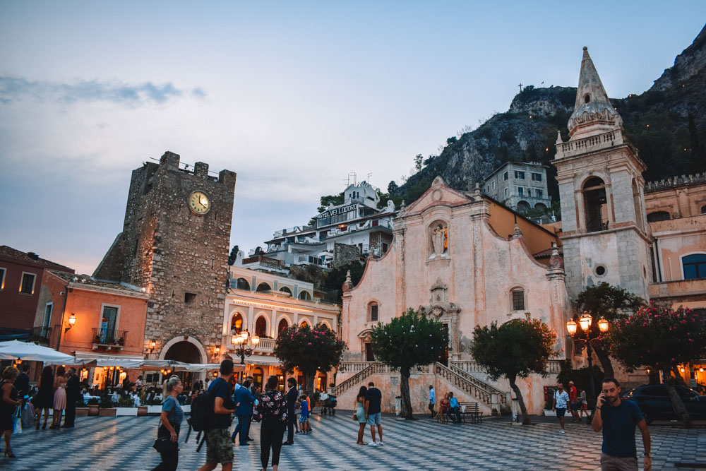The main square of Taormina just after sunset