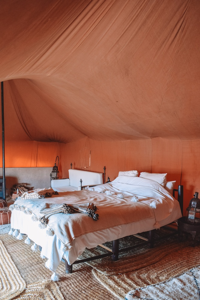 Our tent at Scarabeo Camp in the Agafay desert in Morocco
