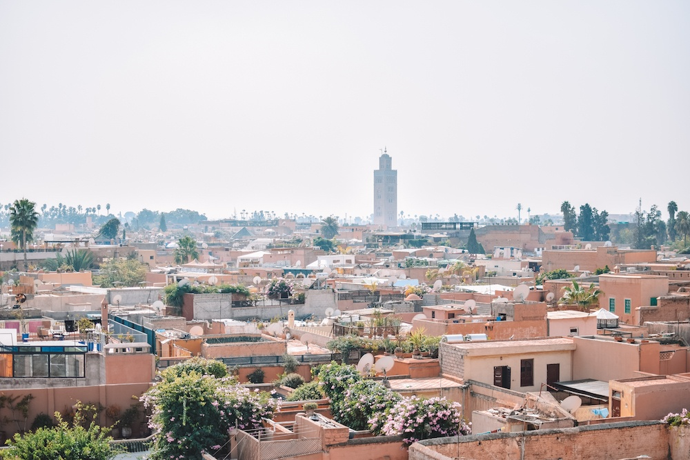 View over the rooftops of Marrakech from the Jardin Secret tower